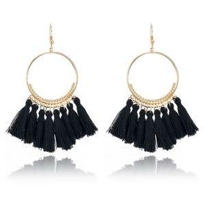Jewelry - 5 for $25 Gold Hoop Black Fringe Tassel Earrings
